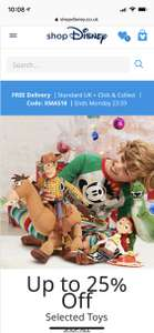 Free delivery at Shop Disney/ Disney store UK on all orders