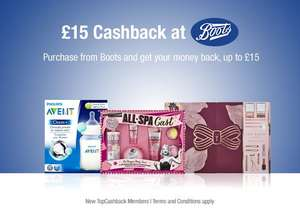 £15 Cashback After Boots Purchase Online (new members topcashback)