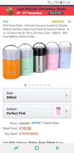 Lightening Deal - Sho Food Flask (800ml) in Pink, Green & Orange - £10 (Prime) £14.49 (Non Prime) @ Sold by SHOnline and Fulfilled by Amazon