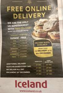 FREE Delivery on Iceland Online orders on orders over £35