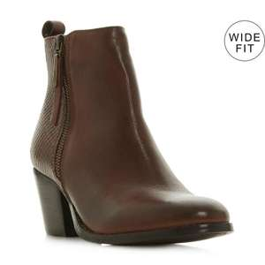 peerson - dark tanDouble Zip Mid Heel Ankle Boot now £63 st Dune