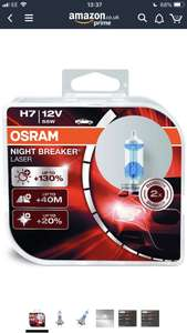 OSRAM NIGHT BREAKER LASER H7, Halogen Headlamp Bulbs (Duobox - 2 Bulbs) Only £12.46 Delivered (Prime) + £4.49 delivery (Non-Prime) @ Amazon