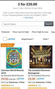 3 DVD's, Books or Cd's for £20 at Amazon. Includes a few recent releases! Greatest Showman standard soundtrack and the re-imagined CD!