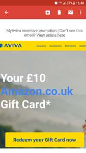 Free £10 Amazon gift card Valid for 10 years from AVIVA insurance for logging into your AVIVA insurance account