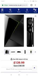 Nvidia shield TV 3GB/16GB @ Currys for £139.99