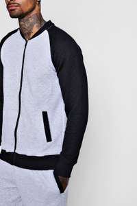 Bomber Tracksuit With Contrast Sleeves @Boohooman - £12 With Free Delivery Code