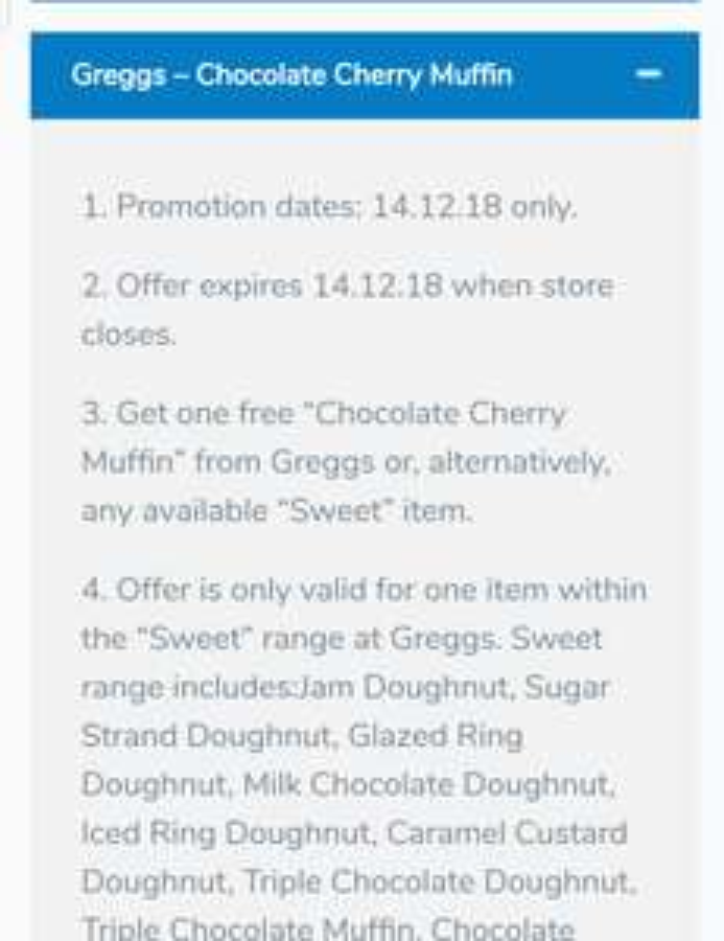 Free chocolate cherry muffin at Greggs via wuntu
