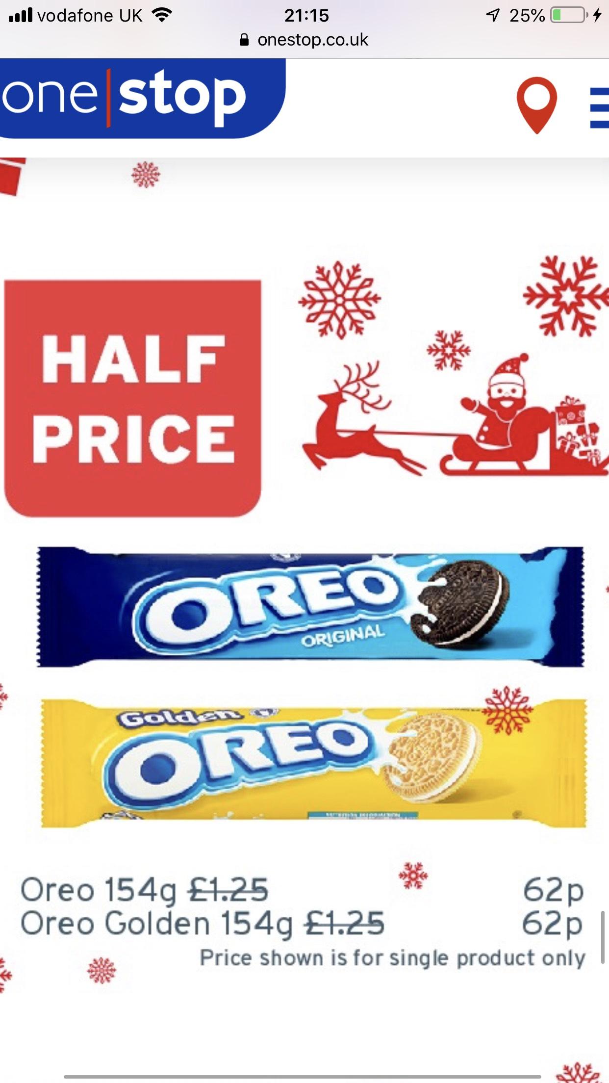 Half price Oreo - 62p @ One Stop