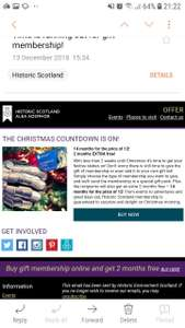 14 months for the price of 12 on membership for historic Scotland - £55