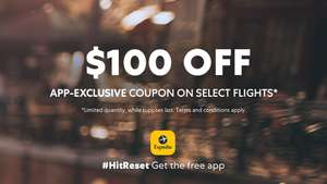 100 usd discount on 200 usd spend on flights at Expedia.com