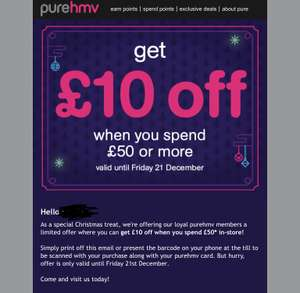 £10 off £50 spend instore @ HMV for PureHMV members. (Check emails for your coupon)