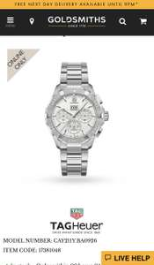 TAG Heuer Aquaracer Mens Watch Cheapest Available - £1995 @ Goldsmiths