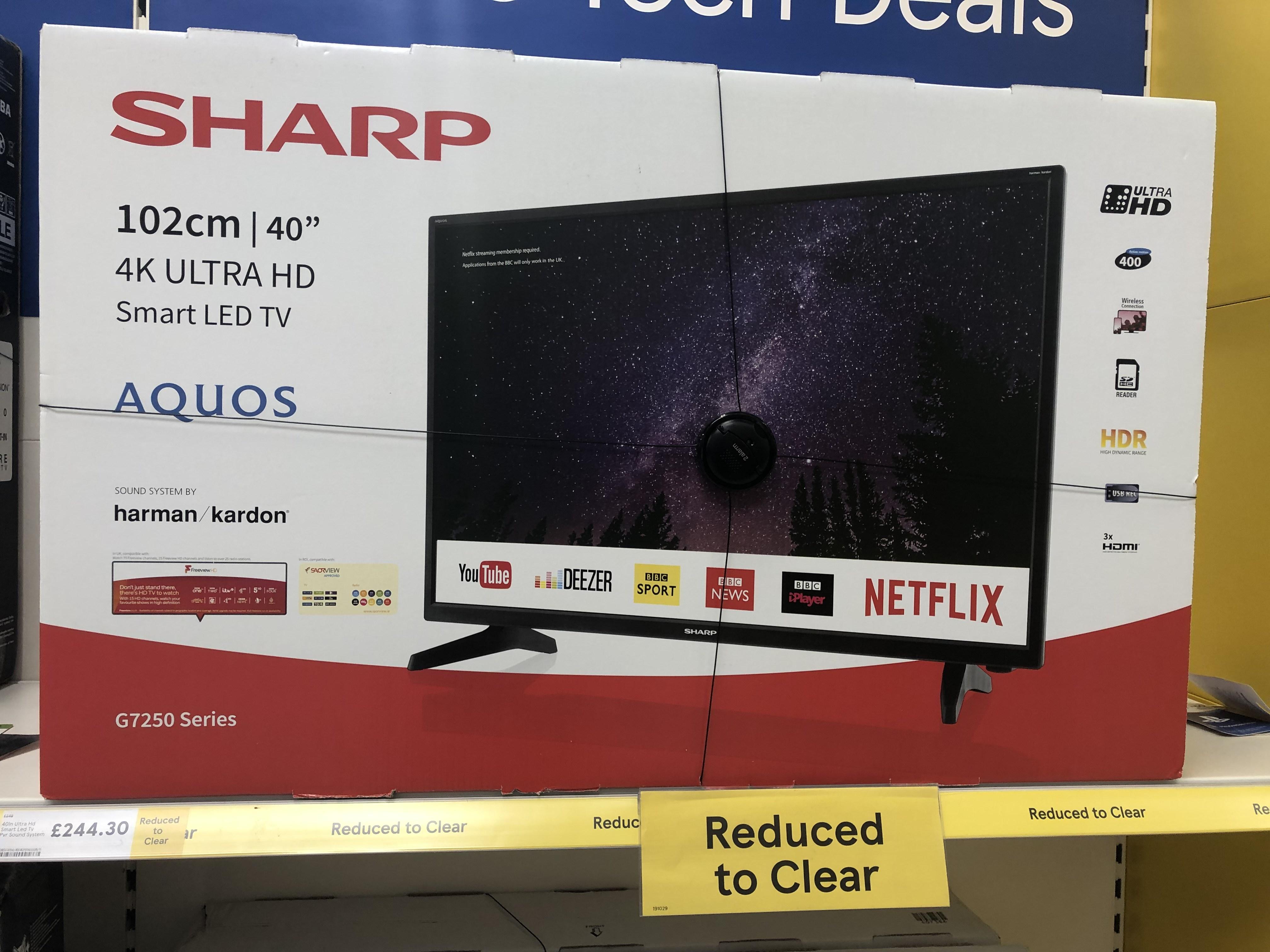 """Sharp 40"""" 4K UHD smart LED TV - £244.30 @ Tesco"""