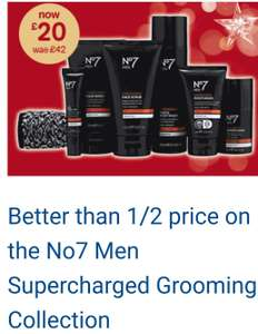 Better than 1/2 price No7 Men Supercharged Grooming CollectionNow £20, was £42, save £22* @ Boots