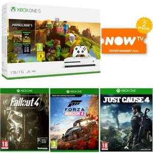 Xbox One S 1TB, Minecraft Creator edition, 	Fallout 4	, Forza Horizon 4,	Just Cause 4, NOW TV, 2 weeks gold, 1 month gamepass £229.99 @ Game