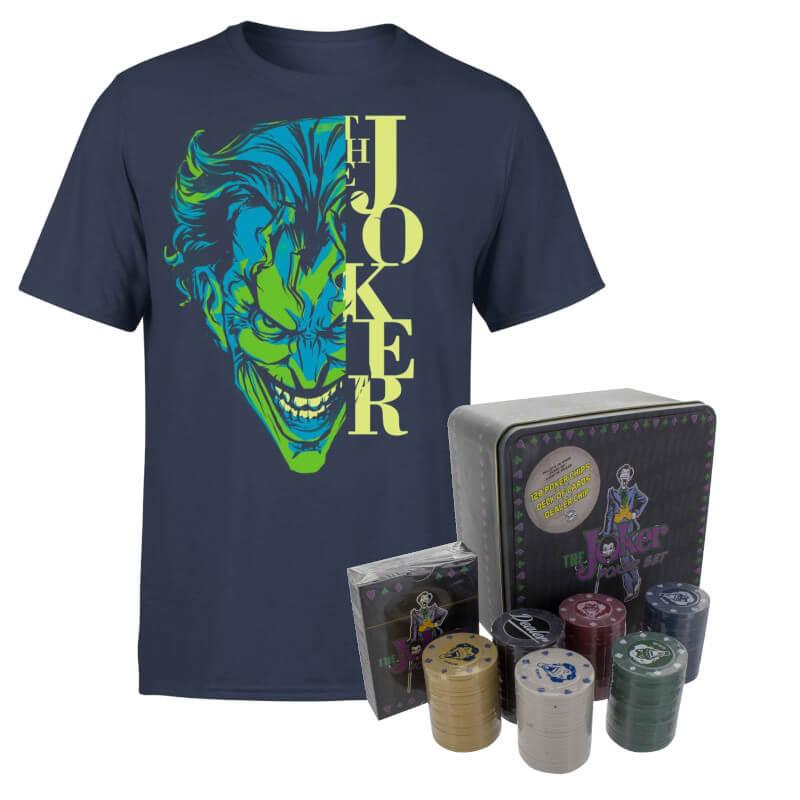 Batman Joker Navy T-shirt & Joker Poker Bundle £9.05 (or 2 for £13.11) @ Zavvi