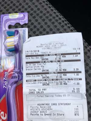Colgate toothbrushes in Boots are half price