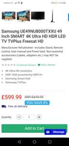 Samsung 49 inch nu8000 4k tv from Electrical Deals for £599.99