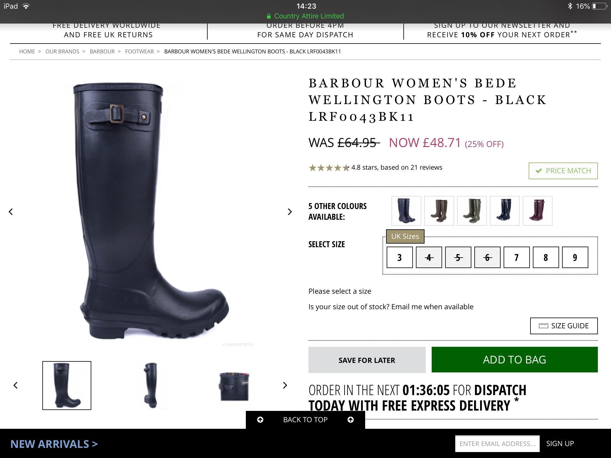 BARBOUR WOMEN'S BEDE WELLINGTON BOOTS - BLACK - £48.71 @ Country Attire
