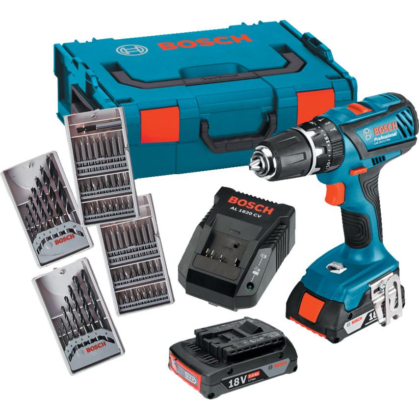 Bosch Combi Drill - GSB18-2LI Plus - 63 pieces & case - £124.79 @ Cromwell