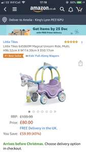 Little tikes unicorn ride along toy at Amazon for £80
