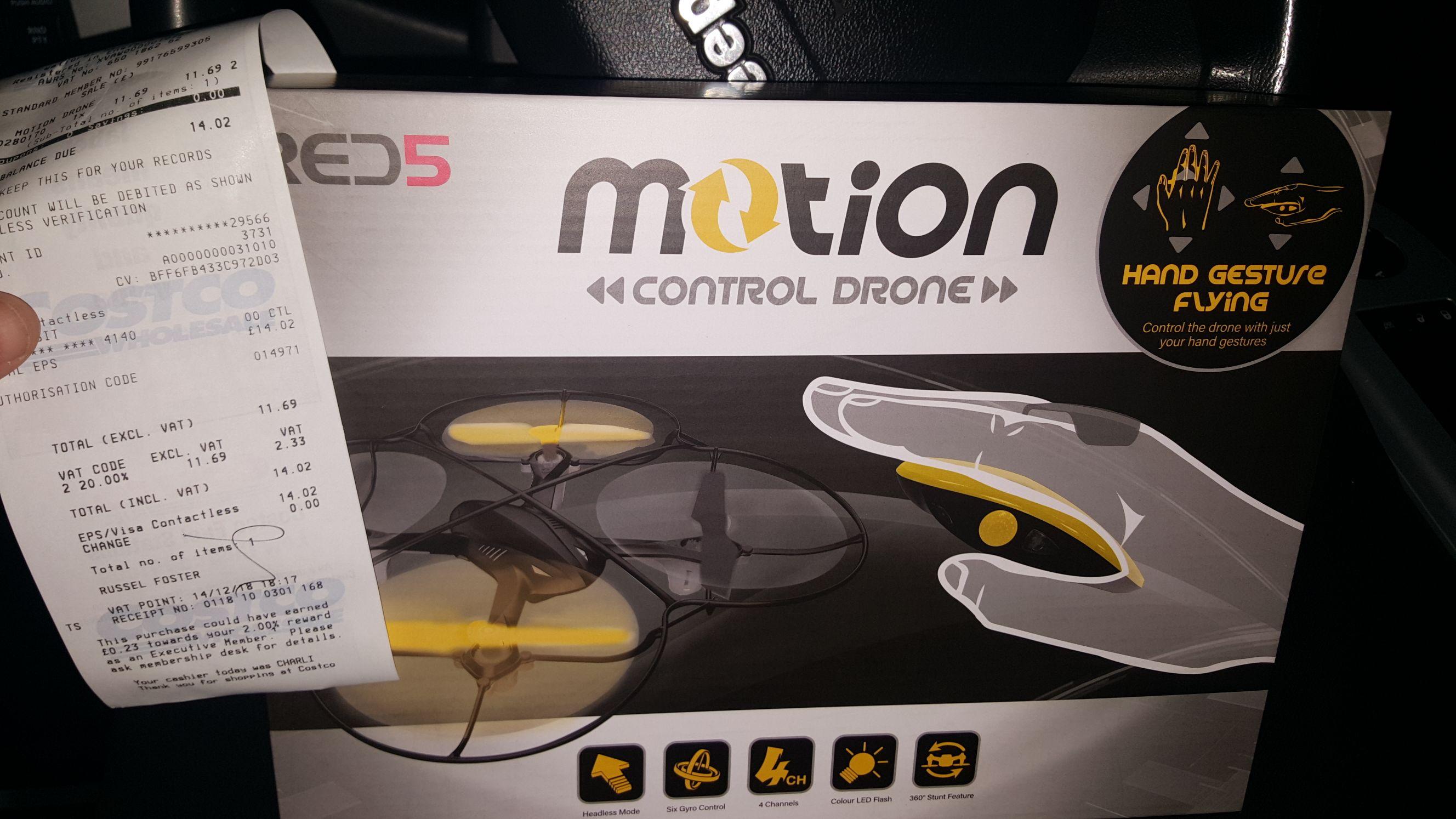 COSTCO Sheffield red5 motion control drone £14.02