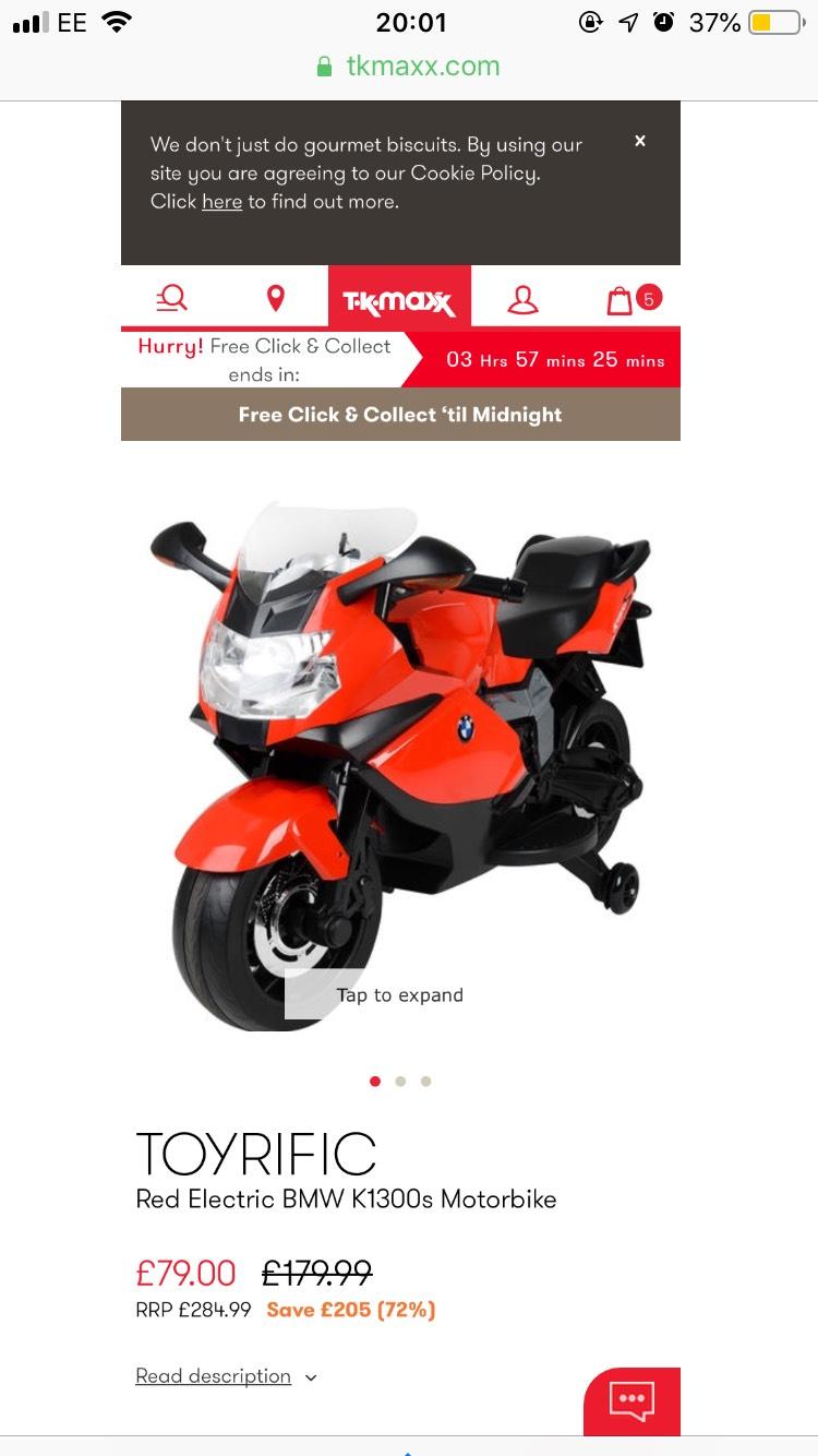 TOYRIFIC Red Electric BMW K1300s Motorbike - £79 @ TK Maxx