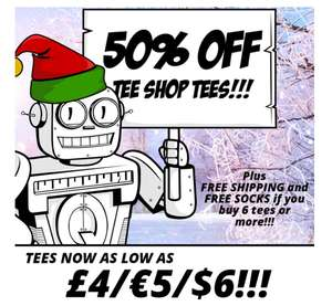 Qwertee T shirts now from £4 in the sale and Free shipping and free socks when you order 6
