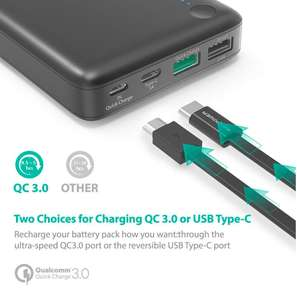 Lightning deal USB C RAVPower 20100mAh Power Bank Qualcomm Quick Charge 3.0 £27.99 Sold by Sunvalleytek-UK and Fulfilled by Amazon