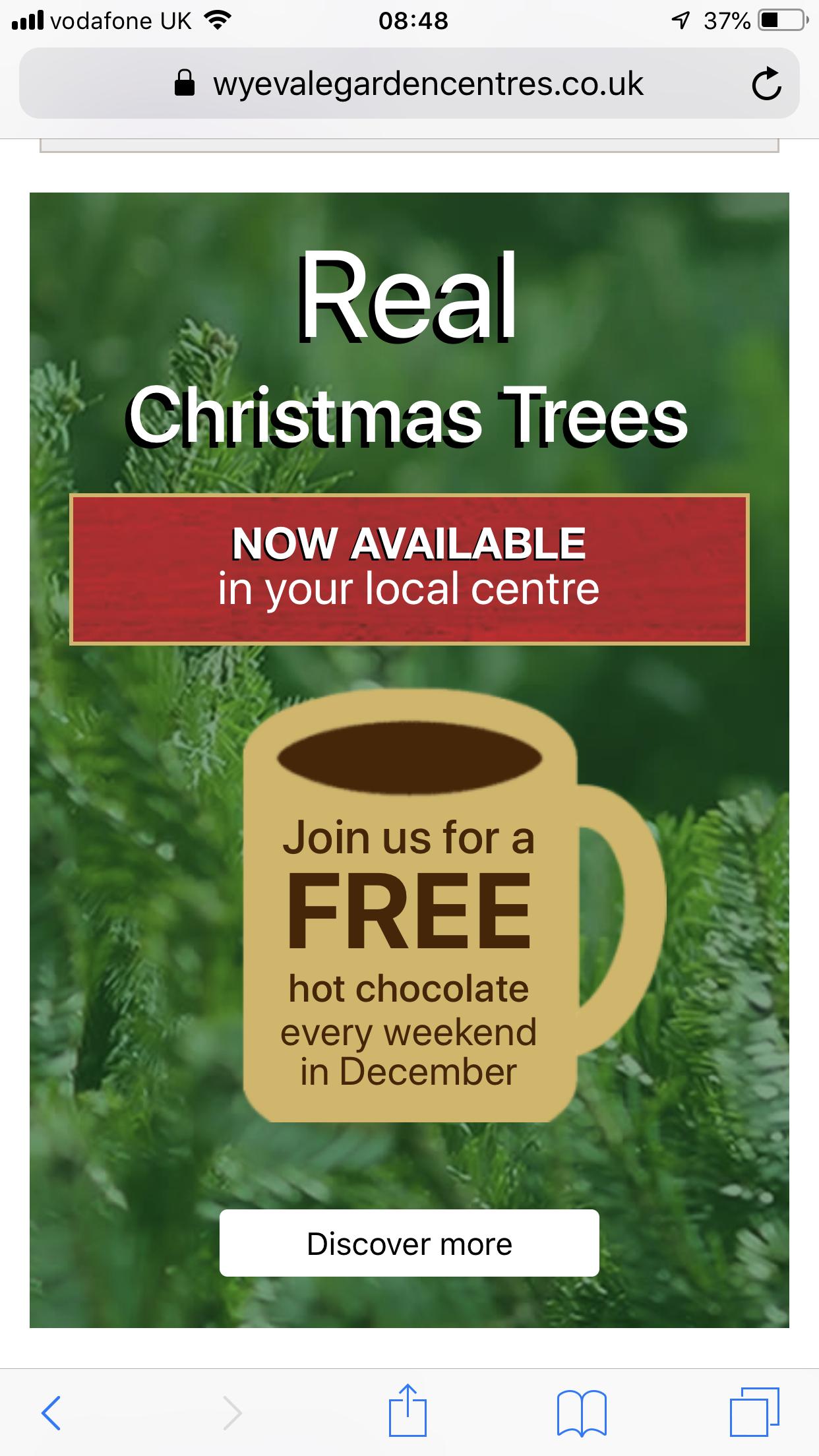 Free hot chocolate Wyevale garden centres