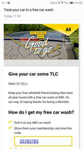 AA Member get a FREE Car Wash with IMO Car Wash