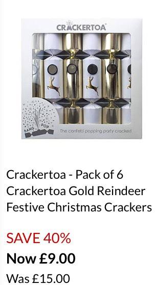 Crackertoa Gold reindeer Christmas crackers @Debenhams