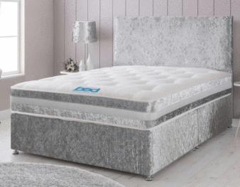 CRUSHED VELVET DOUBLE DIVAN BED + MEMORY FOAM MATTRESS + PLAIN OR CUBED HEADBOARD £134.99 w/code @ bedbustersuk ebay