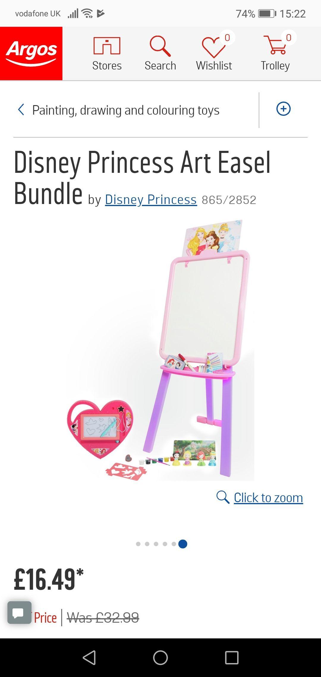 Disney Princess Art Easel Bundle £16.49 @ Argos
