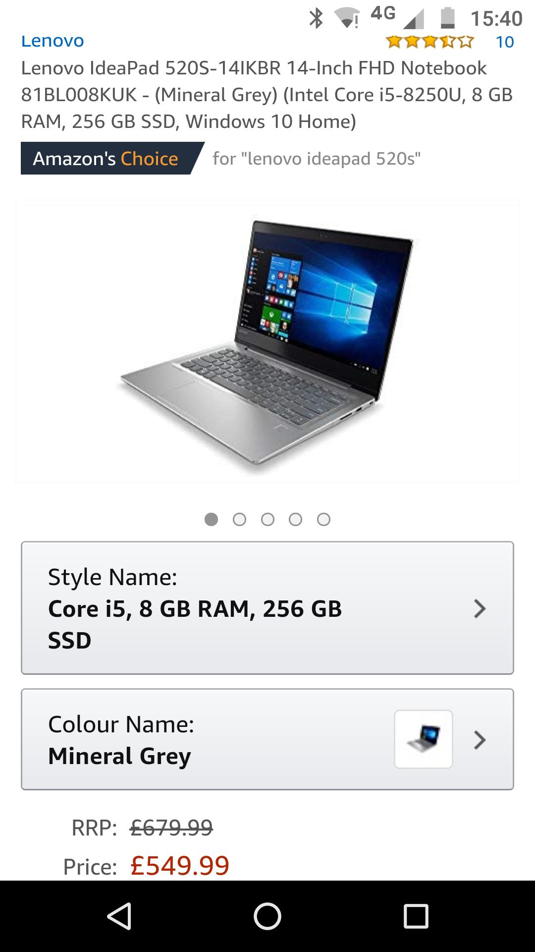 IdeaPad 520s 14-Inch FHD - (Intel Core i5-8250U, 8 GB RAM, 256 GB SSD, laptop £549.99 @ Amazon