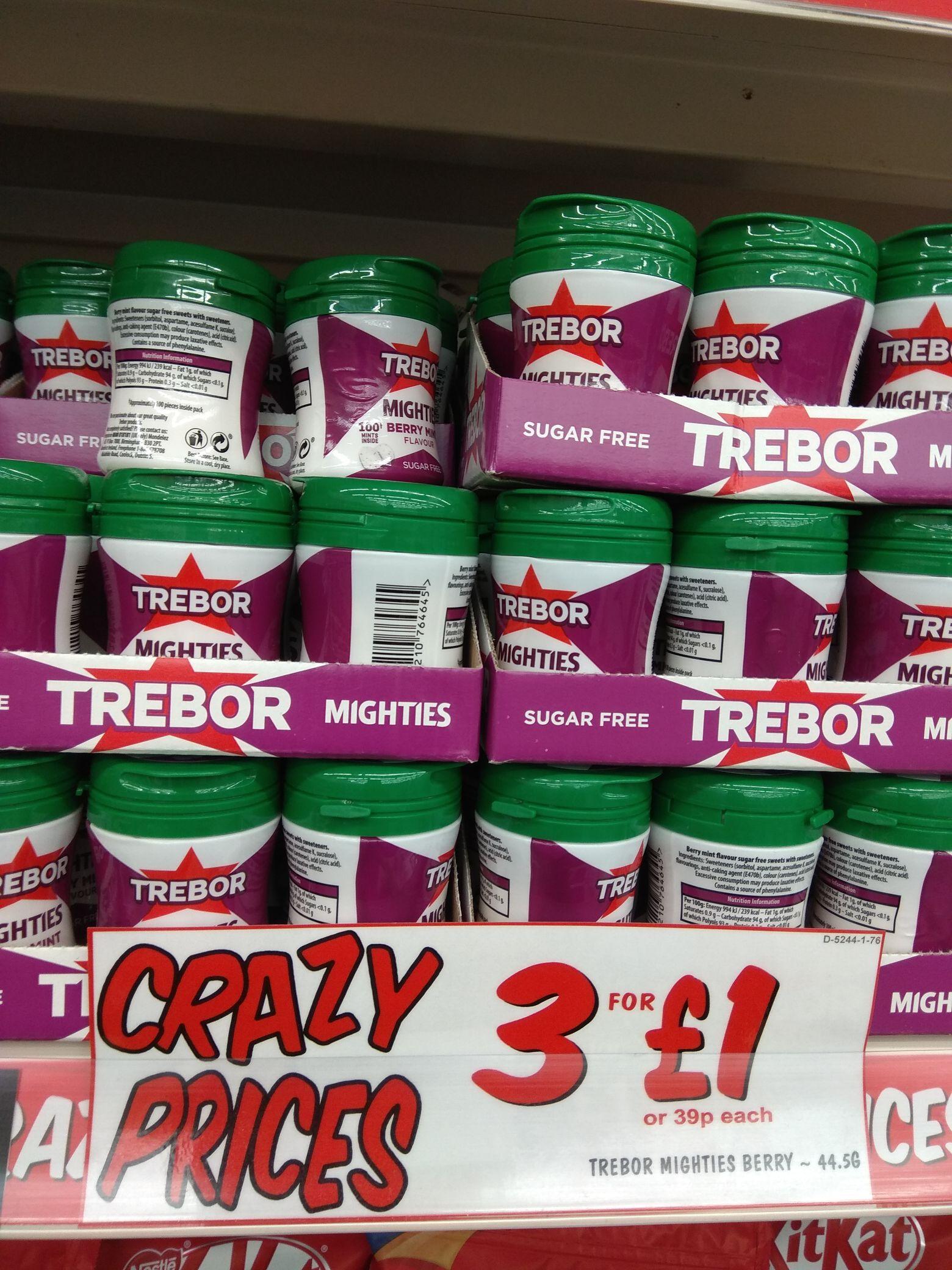 3 x Trebor Mighties Sugar Free Berry Mint 44.5g (100 pack) tubs - £1 @ Fulton Foods