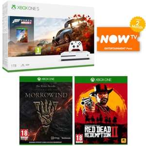 Xbox One S 1TB with Forza Horizon 4 + RDR 2 + Elder Scrolls Online + 2 Months Now TV £199.99 at Game