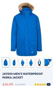 Trespass Jayden Men's Waterproof parka jacket size XXS up to XXL now £24.99 @ Trespass Free C&C