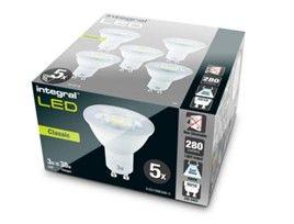 INTEGRAL LED GU10 CLASSIC PAR16 3W (38W) 4000K 280LM NON-DIMMABLE LAMP - 5 PACK £6.78 @ Box