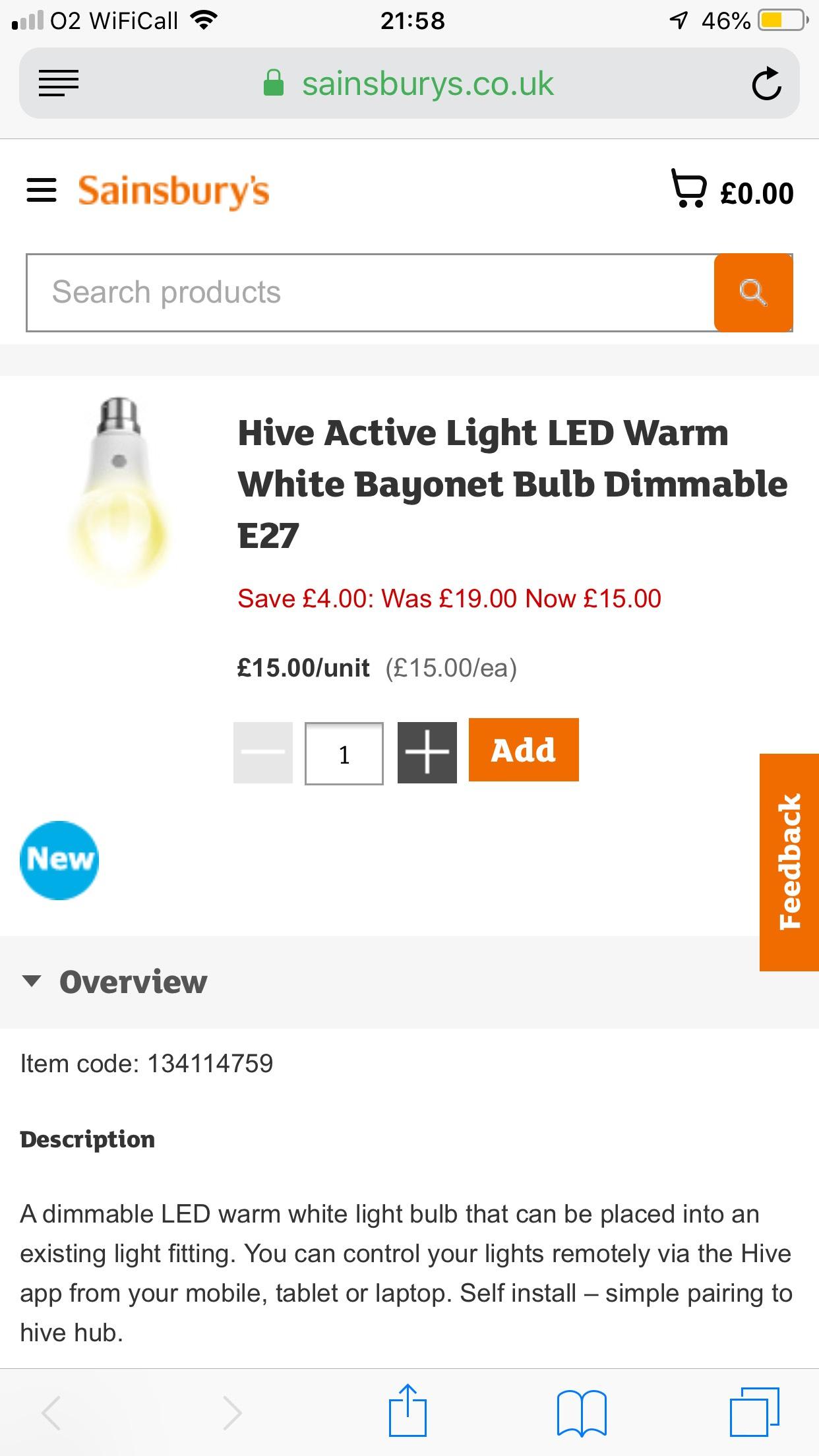Hive Active Light LED Warm White Bayonet Bulb Dimmable E27 £15 Sainsburys