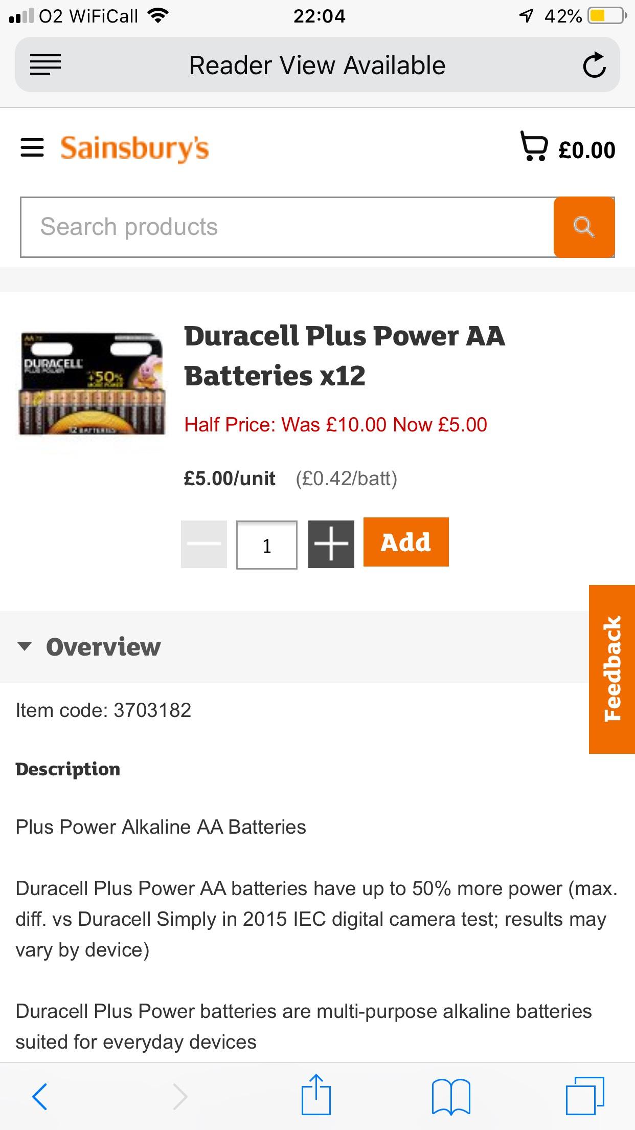 Duracell Plus Power AA Batteries x12 £5 @ Sainsburys