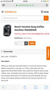 Bosch Tassimo Suny Coffee Machine TAS3202GB £55 Sainsburys