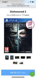 Dishonored 2 ps4/Xbox one preowned @ musicMagpie £3.77 (Also, £4.21 on their eBay page - links in description)