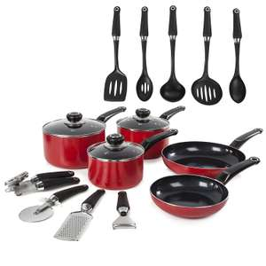 Morphy Richards Equip 5 Piece Pan Set with 9 Piece Tool Set - Red For £44.99 Delivered @ Amazon UK