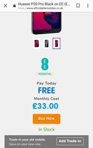 P20 pro on EE with 30gb, no upfront cost £33 at Affordable Mobiles £792