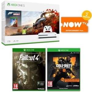 Xbox One S 1TB + Forza Horizon 4 + Call of Duty Black Ops 4 + Fallout 4 + NOW TV 2 Months Pass £199.99 at Game