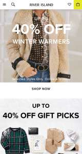 UPTO 40% off Winter Warmers & Gifts @ Riverisland Instore/Online + £1 standard delivery (ends midnight)