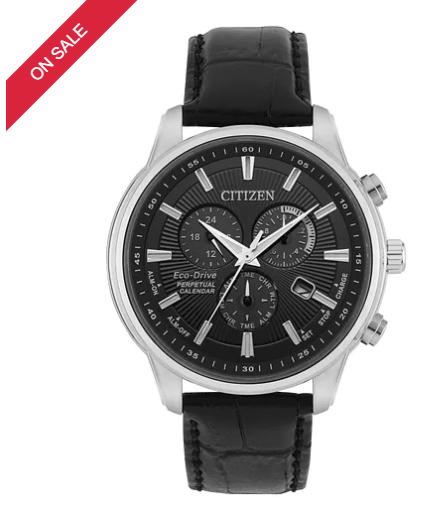 Citizen Men's Eco-Drive Black Leather Strap Watch £179 @ H samuel