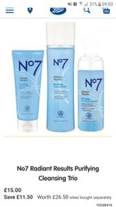 Boots No7 Radiant results purifying or revitalising cleansing trio - £15 Was £26.50, includes foaming cleanser, pore scrub and toner