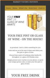 FREE BEER! or wine when you sign up for the newsletter @ Stonegate pubs
